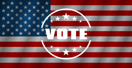 Vote. Vote USA. Set of Poster in different shape, text Vote. United State of America flag. Vector illustration Ilustrace