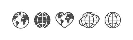 Globe icon. Earth globe Icon set. Vector illustration