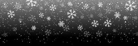 Falling snow on a black background. Snow. Snowfall, snowflakes in different shapes and forms. Snowfall isolated on transparent background. Vector Ilustrace