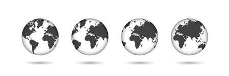 Earth. Set of transparent globes. Earth transparent style. 3d icon with set transparent globes earth. Vector illustration Ilustrace