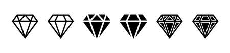 Diamond icon. Big collection quality diamonds. Linear diamond style and silhouette. Royal diamond icons collection set. Vector illustration