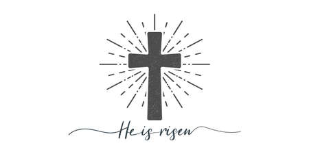 He is risen. Cross with religion text. Lettering style. Christian typography poster. Easter poster. Easter lettering. Vector illustration Ilustrace