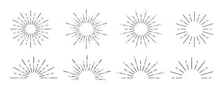 Sunburst icon. Sunburst set on a white background. Collection of sun ray frames. Vector illustration Ilustrace