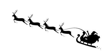Christmas Sleigh Santa fly in sky. Silhouette reindeer and sleigh Santa. Vector Ilustrace