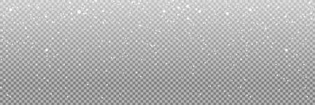 Snow. Realistic snow overlay background. Snowfall, snowflakes in different shapes and forms. Snowfall isolated on transparent background. Vector illustration