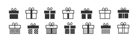 Gift box icon. Present symbol. Christmas box. Surprise with gift box in flat style. Set with gift in linear style. Vector illustration