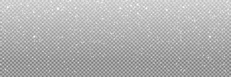 Falling snow on a transparent background. Snow. Snowfall, snowflakes in different shapes and forms. Snowfall isolated on transparent background. Vector