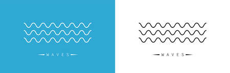 Wave icon. Waves logo. Wave in linear and zigzag style. Vector illustration