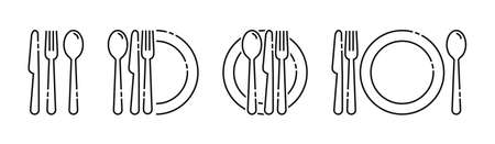 Cutlery icon. Set of fork, knife, spoon. Tableware icon. Logotype menu. Set in flat style. Silhouette of cutlery. Vector illustration Ilustrace