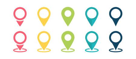 Pointer icon. Pointer location. Pin icon. Popular pointer icons. Location map icon. Gps pin symbol. Vector illustration