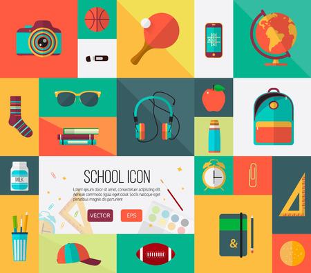 ustawić duże ikony szkolne w formacie wektorowym. Kolorowe ilustracji do banerów internetowych lub elementów karty. Ilustracje wektorowe