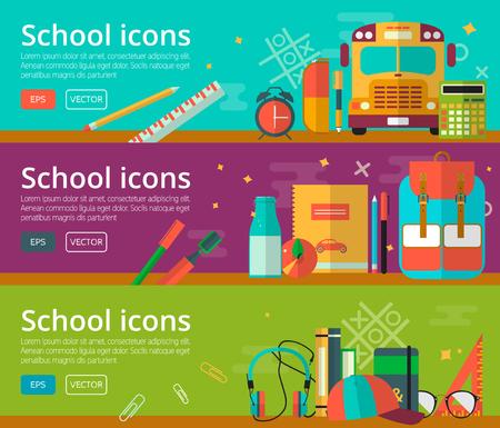 Volver a la escuela de fondo para la web y materiales promocionales. Iconos de la escuela de educación. Ilustración de vector