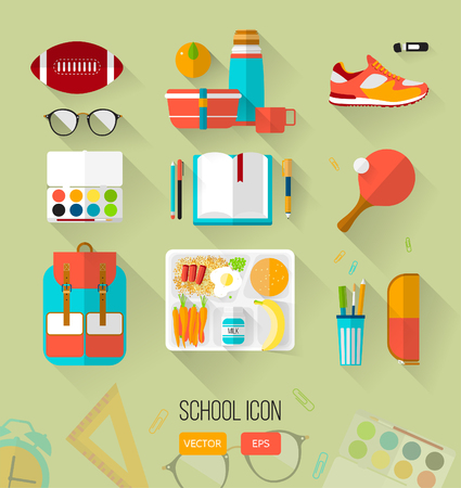 School illustration workspace. Set of school icons in flat style with long shadows. Vector collection of high school object, college items .. Back to school. Interests teenager. Vectores