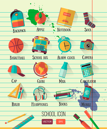Education school icons set. Flat style, long shadows. High school object college items. Back to school creative card with teenager objects Illustration