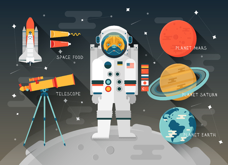 space program: Vector flat education space illustration. Planets of solar system. Astronaut of space program. Cute character pug. Space Shuttle. Telescope. Space food. Planet Mars, Saturn, Earth. Space icon design