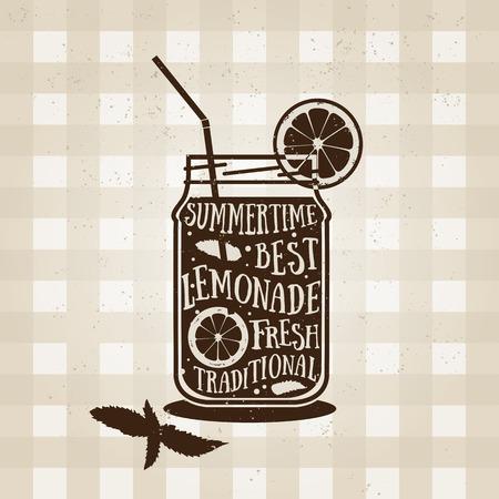 limonada: Vector de la tipografía del cartel con el icono de la limonada. Cita para la tarjeta. de impresión creativa. silueta. Bebidas ilustración menú. Refrescante bebida de limón con hierbas. La cebada de limón.