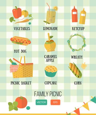 elote: conjunto de vectores de picnic en el estilo plano