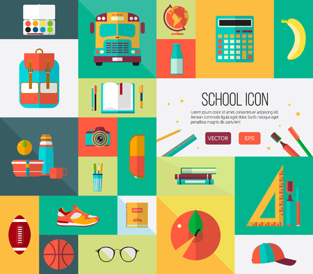 school books: Vector school icons set. Colorful illustration for web banners or card elements.