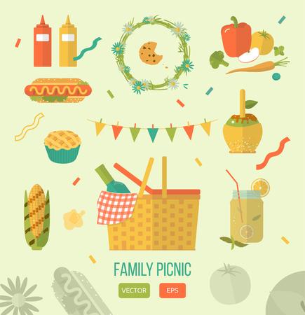 almuerzo: Familia de picnic ilustraci�n claro. Alimentos y pasatiempo iconos. Plano. Barbacoa de objetos, art�culos de picnic.