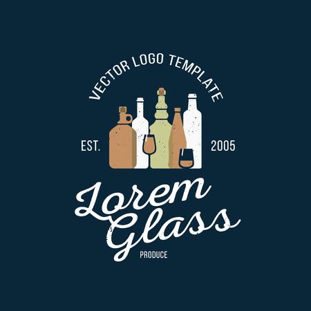 drink bottle: Concept for glass produce company. Bar or restaurant, menu, party illustration. Alcoholic drinks. Illustration