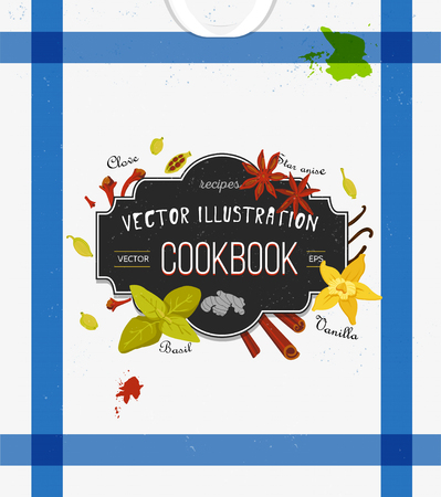 spice: Illustration. Design elements for recipe. Kitchen towel background. Chalkboard effect.