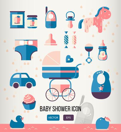teteros: Ilustraci�n del vector del icono de bienvenida al beb� para la plantilla de la invitaci�n, tema del partido, dise�o de p�ginas web. estilo plano. lindo etiquetas. Conjunto de elementos de la ducha del beb�. Colecci�n de los iconos de juguete.