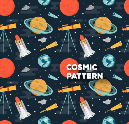 Seamless space pattern in flat style with planets of solar system, rockets and Telescope. Childish background. Иллюстрация