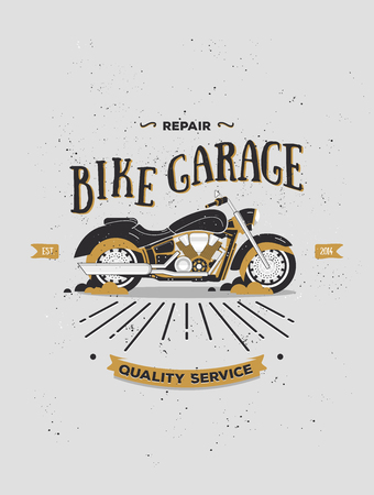 Vector logotype of vintage motorcycle. Retro motorcycle logo. Motorbike vector print in flat style. Bike garage. Elements for logos, banners, posters, t-shirts. Bar, club poster with grange texture.