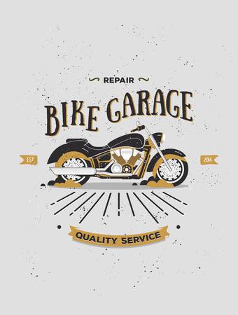 Vector logotype de moto vintage. Rétro logo de moto. Moto vecteur imprimé dans le style plat. Garage à vélos. Éléments pour des logos, des bannières, des affiches, des t-shirts. Bar, affiche de club avec grange texture.