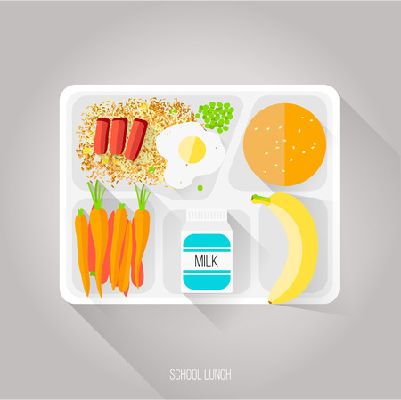 Vector illustration. Flat style. School lunch. Healthy food for students. Beef and vegetable fried rice. Green peas. Omelet. Boiled carrots. Small packaging milk. Sesame bun. Banana. Cardboard tray.