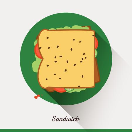 merienda: Vector icono de los alimentos minimalista. Sándwich con tomates, lechuga, semillas de sésamo, pepinos. Tostadas en un estilo plano, la merienda oficina. Vectores