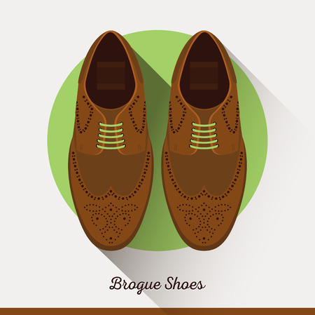 brogue: Flat Brogue Shoes icon male accessories. Illustration