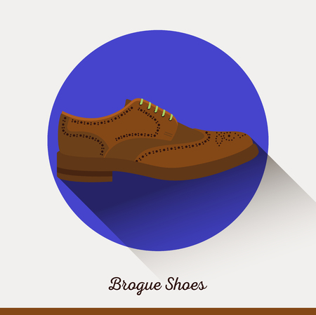 businessman shoes: Vector classic leather Brogue Shoes. Businessman stylish accessories. Flat icon male accessories. Business icon. Retro.