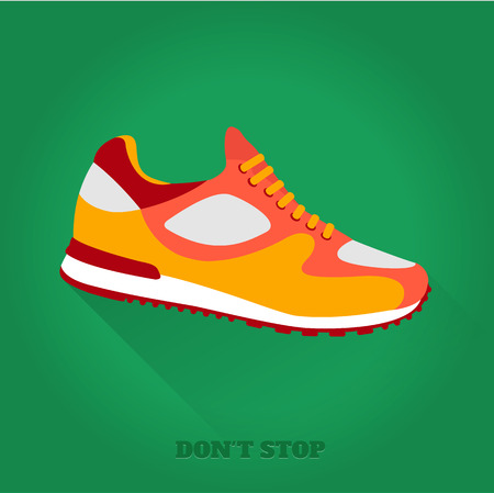 flat foot: Vector icon shoes for training. Running shoe, sneaker isolated on green background. Flat design with long shadow. 10 eps