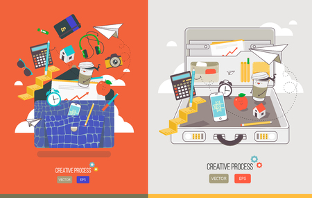 satchel: Two vector illustrations of working process. Workflow creative director, web designer, public relations manager. Accessories businessman, business woman. Satchel with creative process inside. Start up