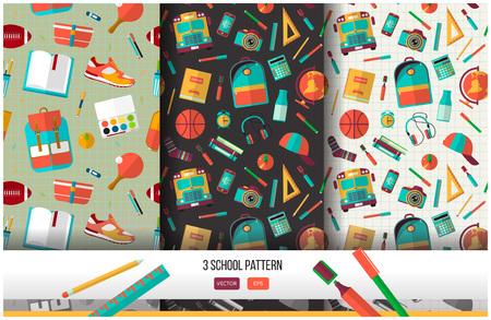 3 学校のシームレス パターンのベクトルを設定します。戻る学校イラスト ノート用紙の背景に。フラット スタイルの高校オブジェクト大学項目です