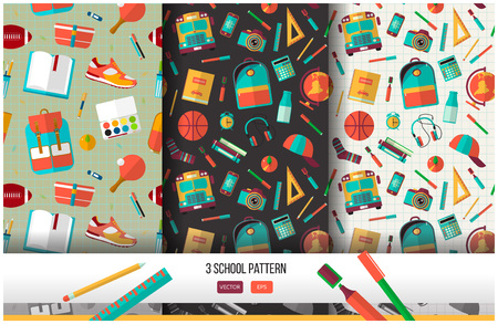 back to school background: Vector set of 3 school seamless pattern. Back to school illustration on notebook paper background. High school object college items in flat style.