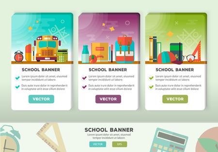 Retour aux concepts de l'école pour le web et le matériel promotionnel. icônes de l'école de l'éducation fixés.
