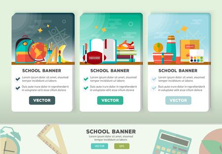 Retour au concept de la publicité de l'école pour le Web et le matériel promotionnel. icônes de l'école de l'éducation fixés. Vecteurs