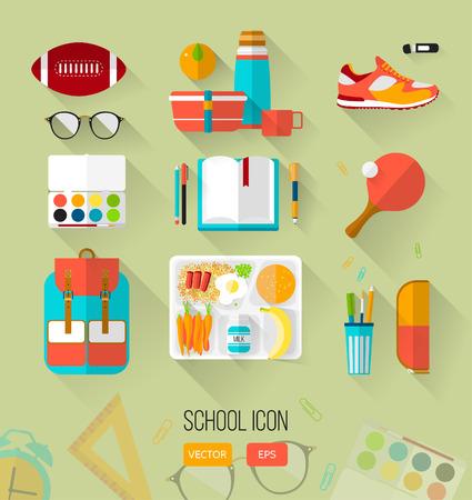 Schule Illustration Arbeitsplatz. Set von Schule-Icons in flachen Stil mit langen Schatten. Vektor-Sammlung von High-School-Objekt, College Artikel .. Zurück zur Schule. Interessen Teenager.