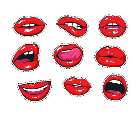 Firma de impresión en el estilo de los cómics. Conjunto de moda de elementos de parches en el arte pop, estilo retro. Ilustración de vector