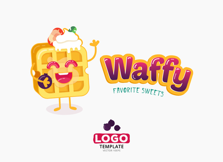 Belgian sweet wafer logo template. Bright and positive character.