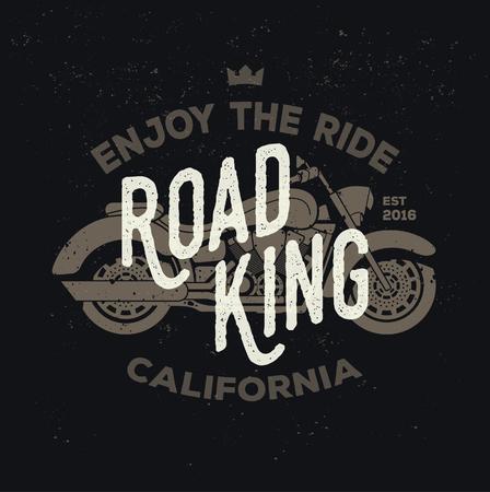 grange: Road king. Elements for dark t-shirt. Bar or biker club poster with grange texture. Illustration