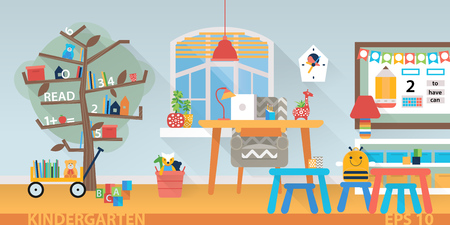 preschool classroom: Children school vector background. Preschool classroom with desk, chairs and toys. Flat style cartoon illustration. Illustration