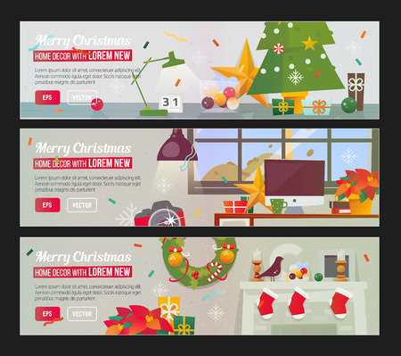 Workplace with decorations. Fireplace. Christmas home flat design banner concept. Illustration