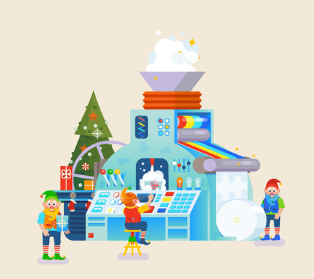 Christmas elves factory with gift on conveyor. Elf concept, celebration and holiday, festive theme.