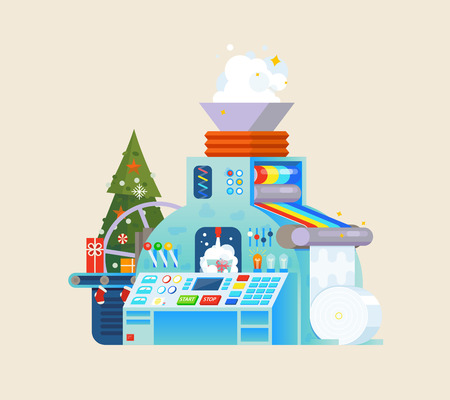 Christmas gift factory. Holiday Machine process in isometric style.
