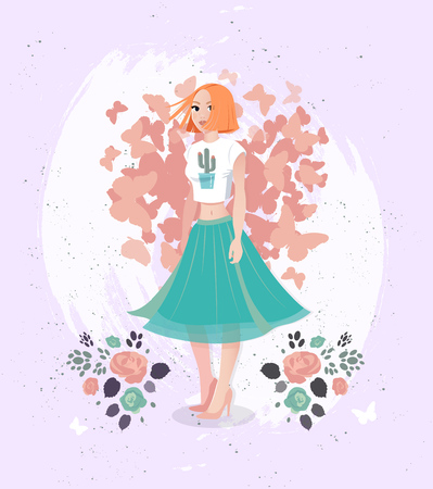 Vector Happy valentine day illustration of character young girl with spring flowers.