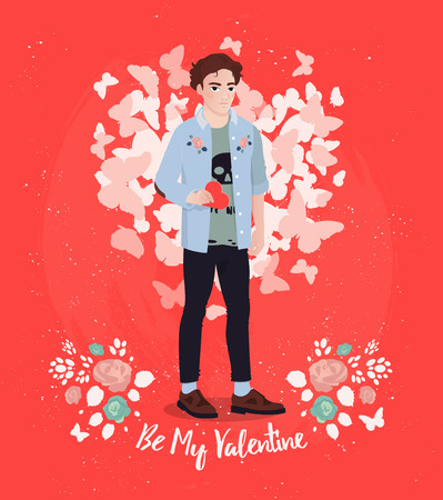 Happy Valentines Day greeting card design. Hand Drawing male character.