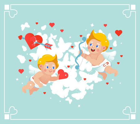 Vector Valentines flying cupids card.
